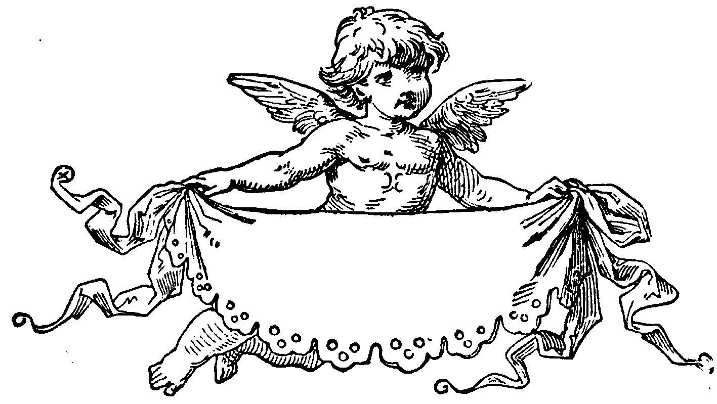 Черно белая открытка ангела