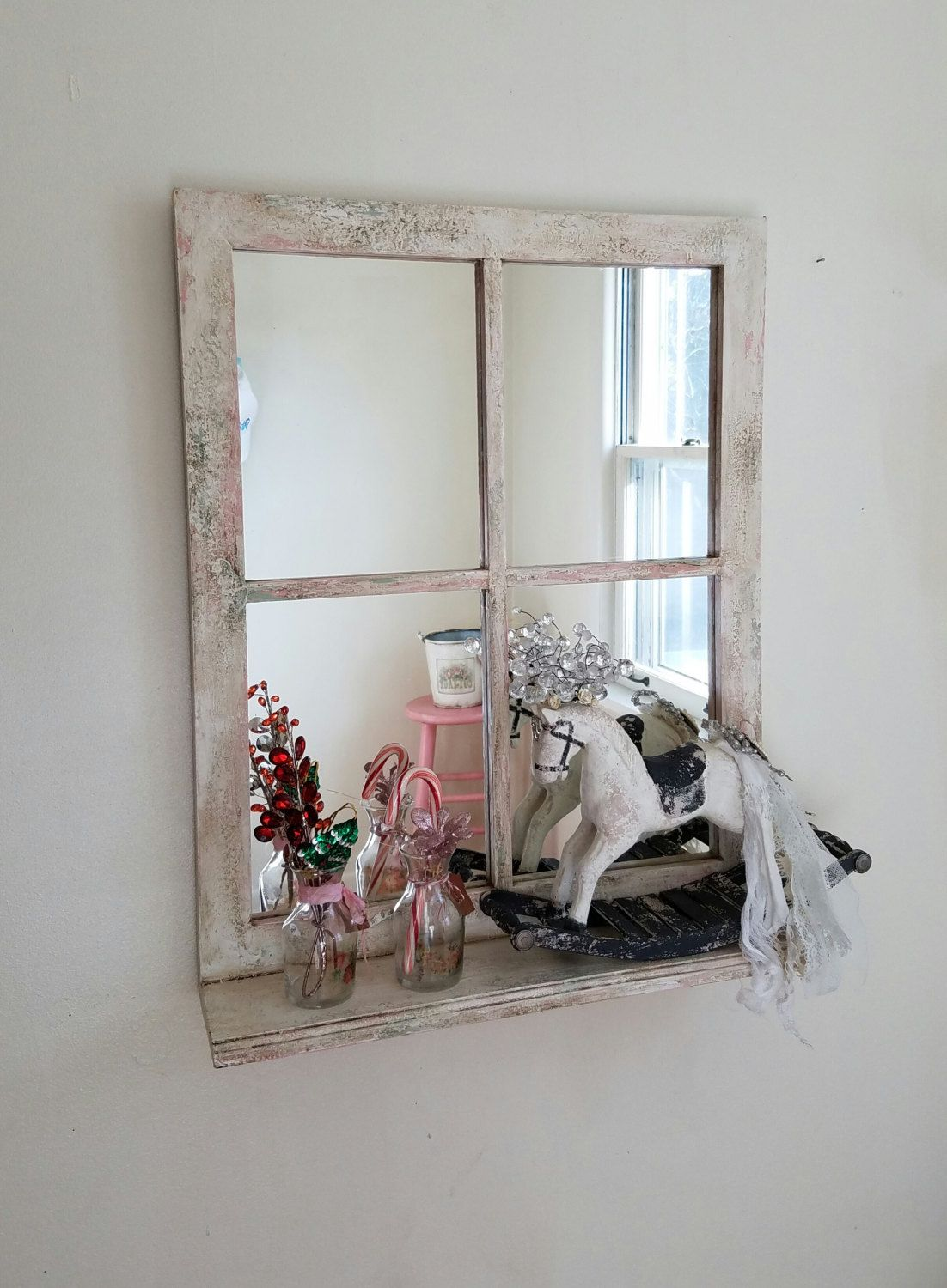 Window Pane Mirror With shelf Decorative Mirror Shabby Cottage Distressed hand Painted Home Decor by TheVintageStories on Etsy