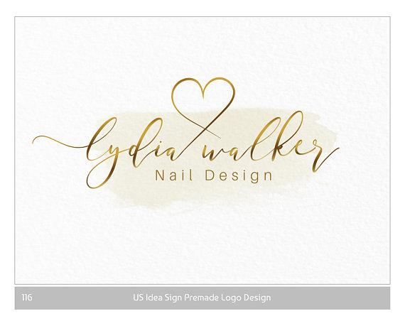 Gold Logo Heart Logo Nail Design Logo Photography Logo Custom