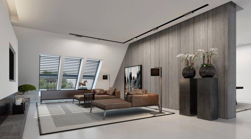 Wohnzimmer mit offenem Grundriss Kaminofen Sitzgarnitur aus Leder
