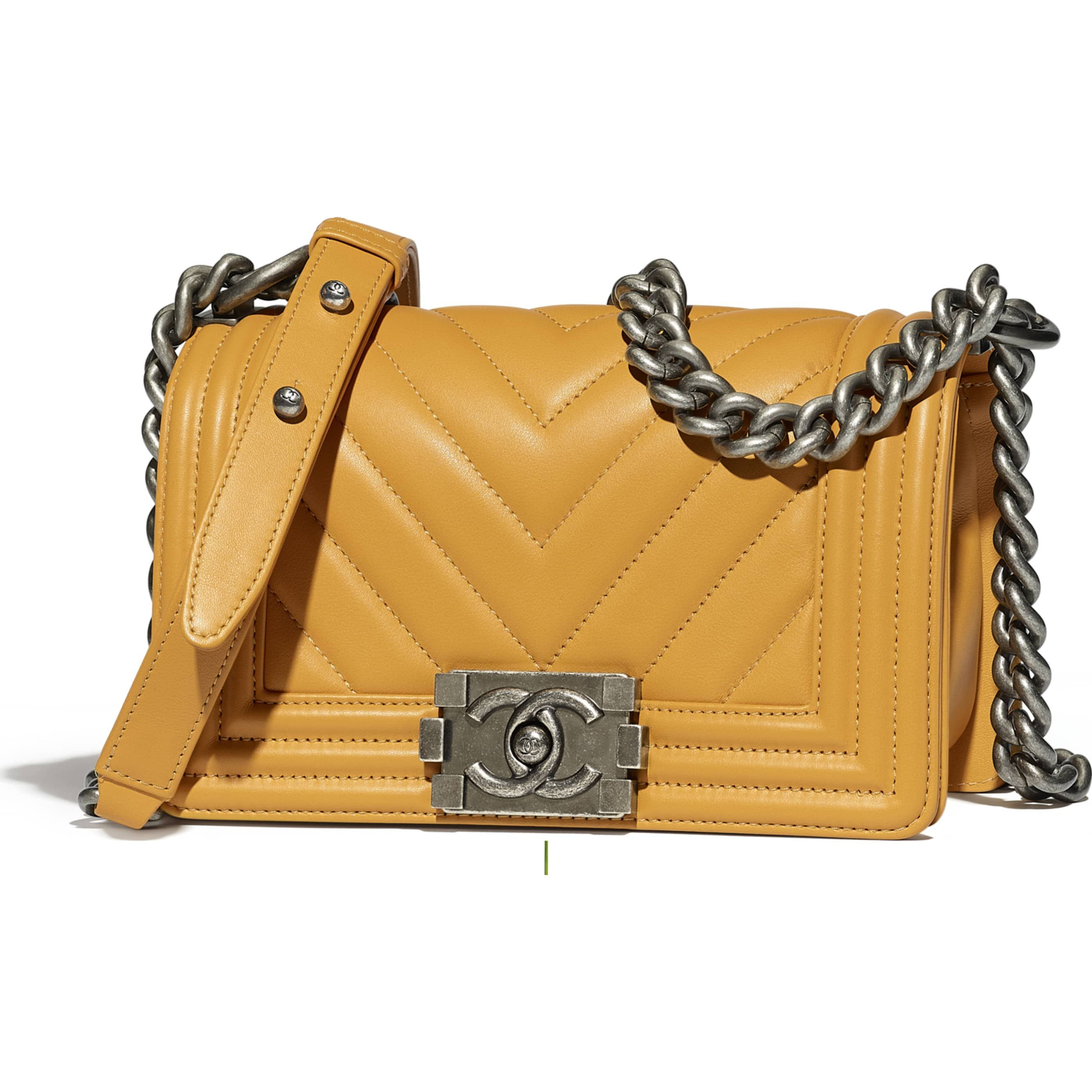 9acc0e9ac2c Calfskin   Ruthenium-Finish Metal Yellow Small BOY CHANEL Handbag   CHANEL   chanelhandbags