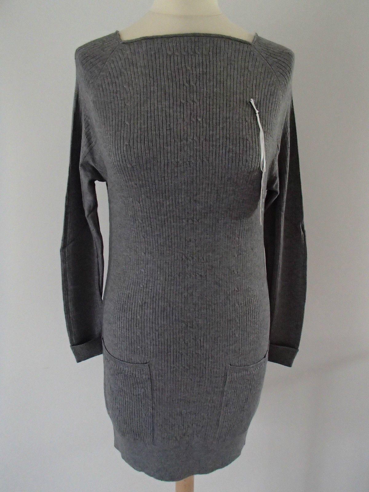 Robe bleu marine col original carré laine cachemire soie 38//40 ladydjou E8509