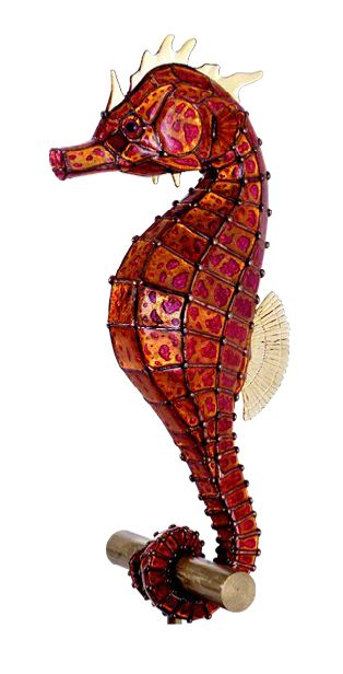 Hippocampus Abdominalis, glass and brass copperfoil technique, by Steve Meyer.