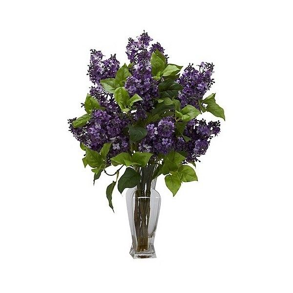 Lilac Silk Flower Arrangement In Glass Vase Artificial Flower Arrangements Artificial Flowers Flower Arrangements