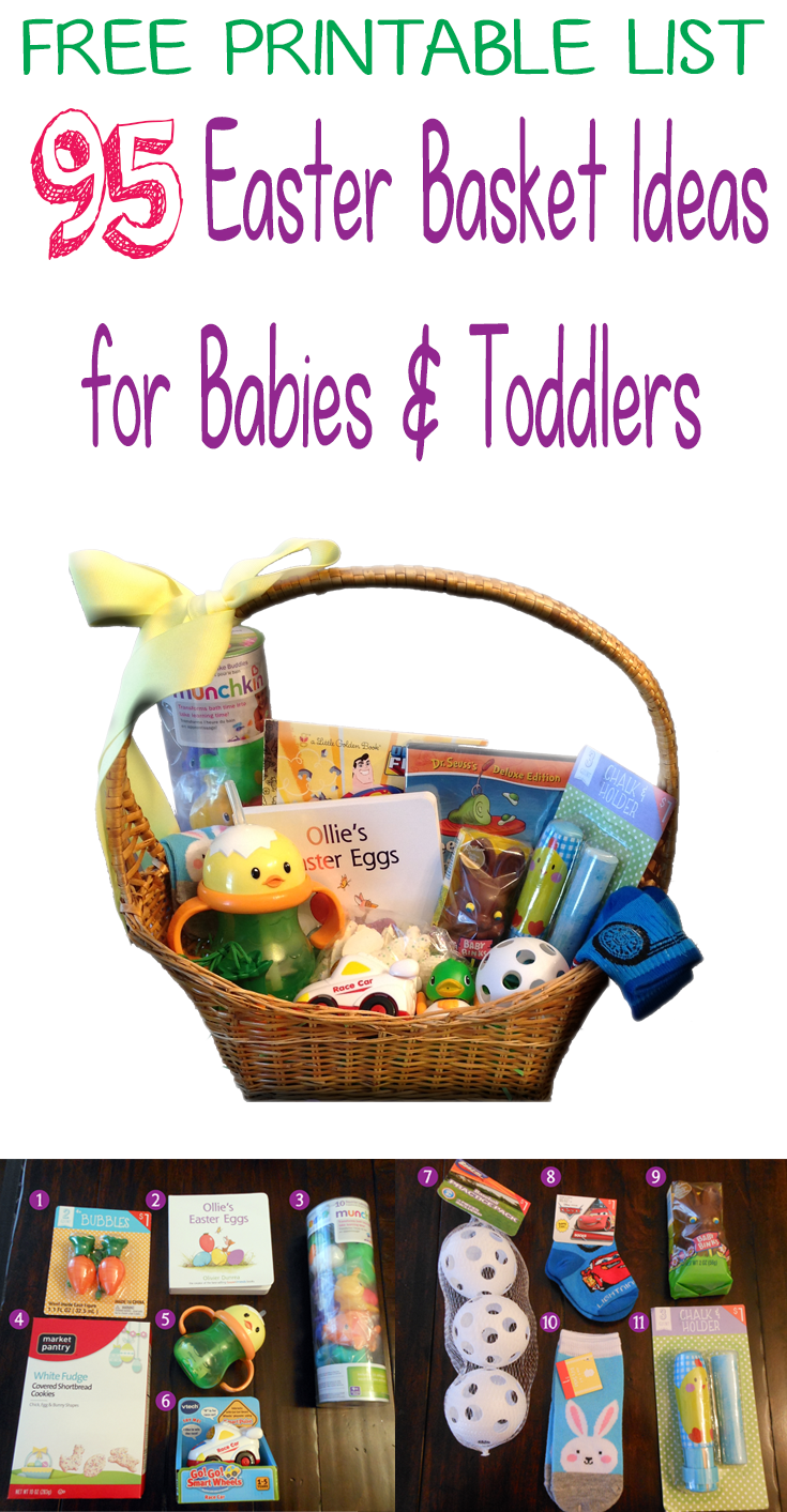 95 easter basket ideas for babies and toddlers including a free 95 easter basket ideas for babies and toddlers including a free printable list at bed rested negle Choice Image