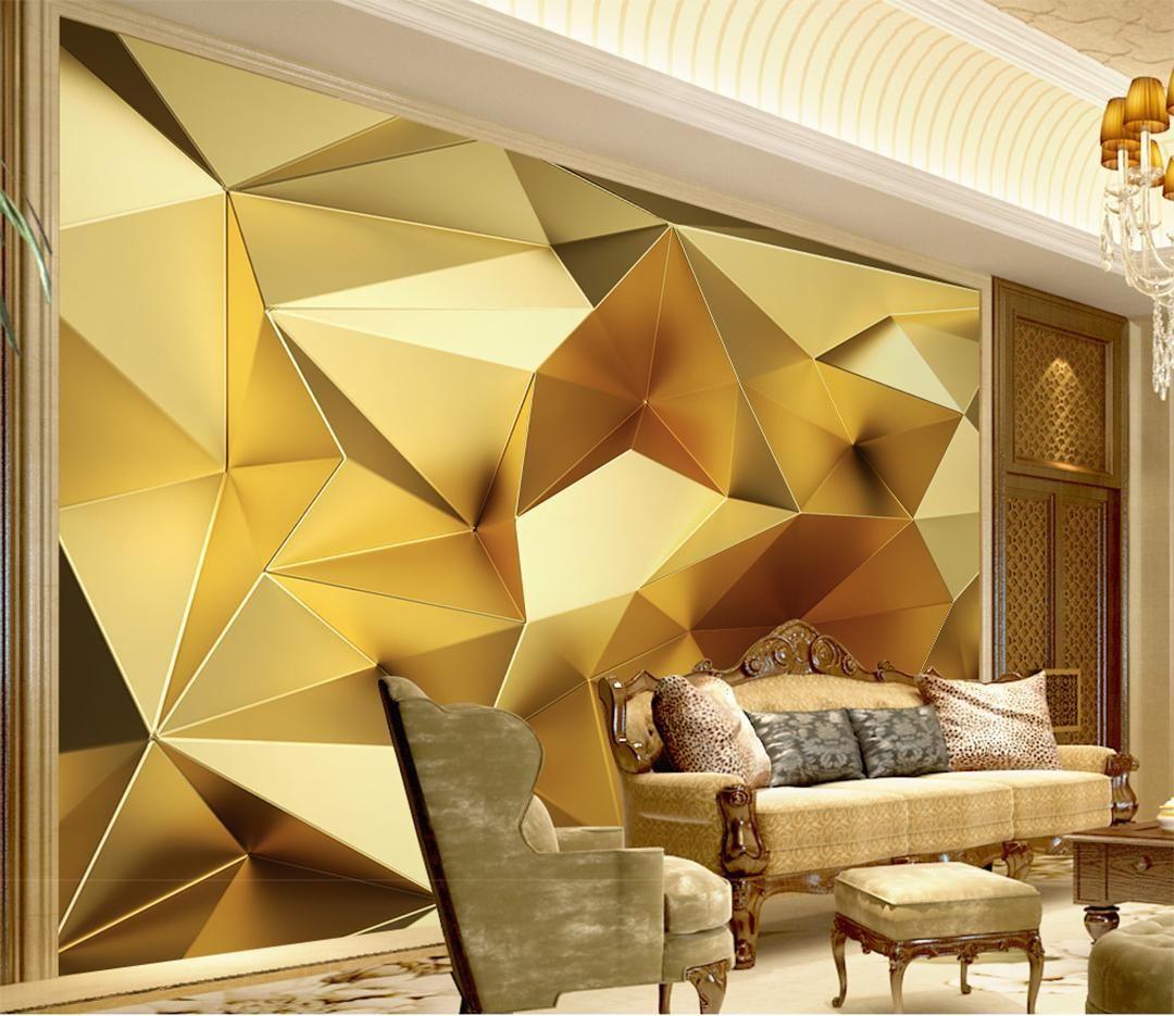 Custom Photo Wallpaper 3d Stereo Abstract Space Golden Geometry Mural Modern Art Creative Li Decoracao Da Sala De Jantar Decoracao Sala De Tv Decoracao Da Sala