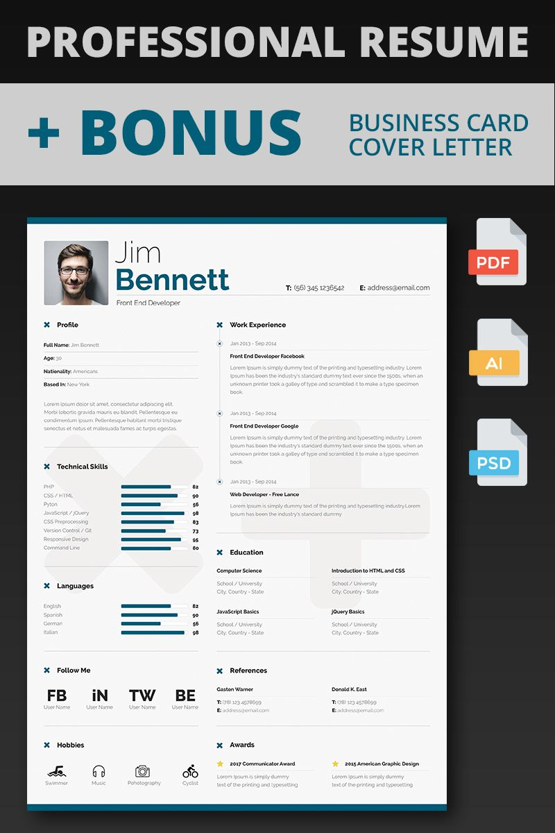 Jim Front End Developer Resume Template 65750