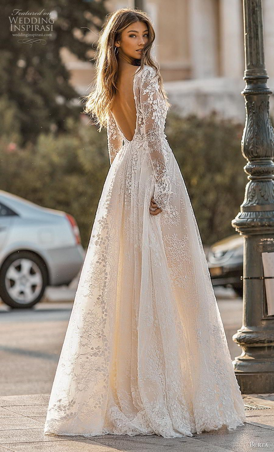 4ef2fb05c4 berta fall 2019 bridal long poet sleeves deep v neck full embellishment  sexy romantic a line wedding dress backless v back sweep train (1) bv -- Berta  Fall ...