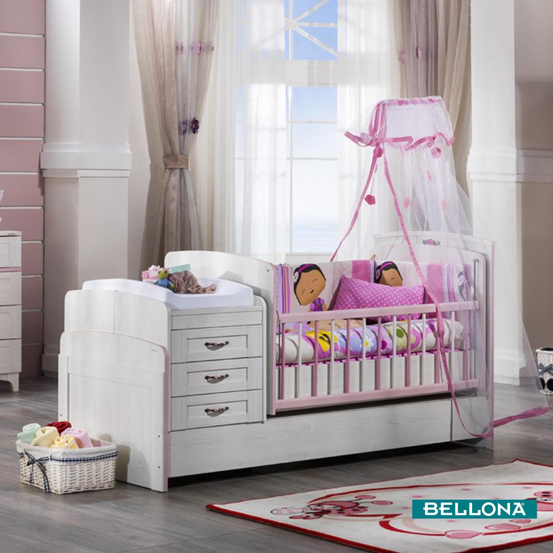 Pembe Ve Ladin Rengin Uyumuyla Sunulan Venturo Bebek Odasi Takimi Fonksiyonelligi Durusu Ve Gerektiginde Cocu Tempat Tidur Bayi Tempat Tidur Anak Kamar Tidur