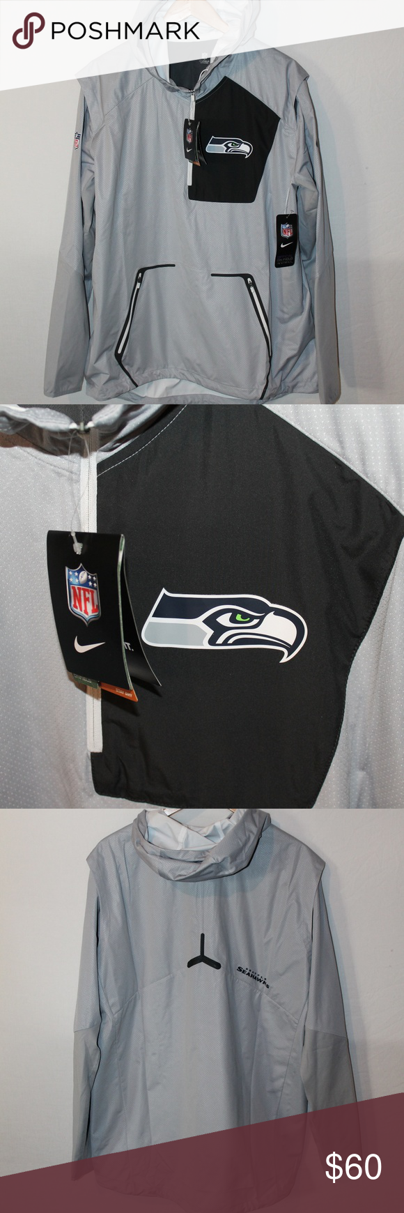 f56a65512a557 Nike Seahawks Men s Alpha Fly Rush Pullover NWT lightweight 1 4 zip  waterproof pullover. Two zippered pockets. Nike Jackets   Coats