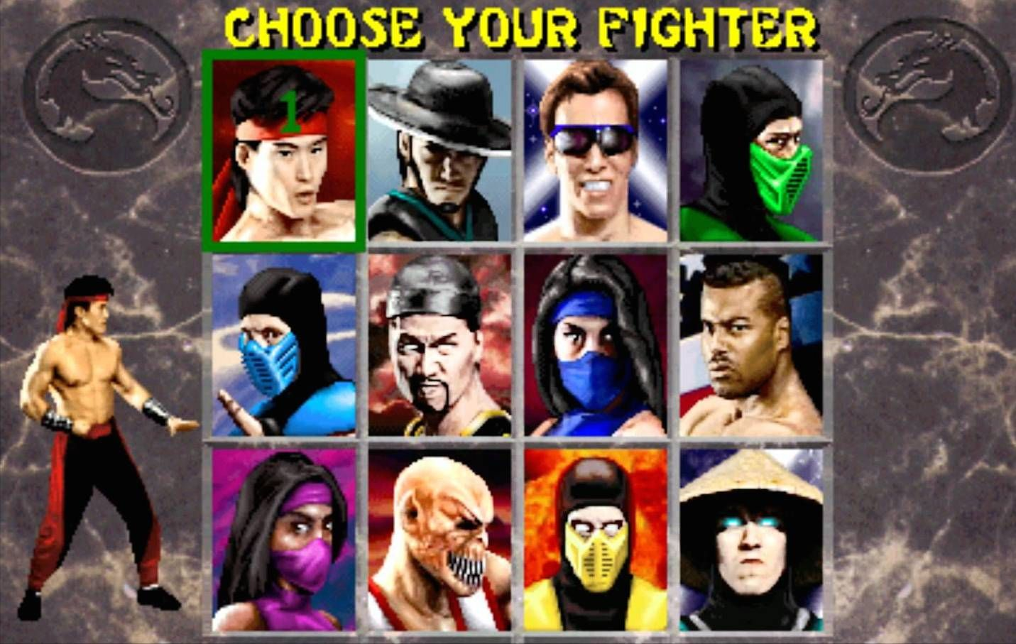 Image result for mortal kombat 2 select screen