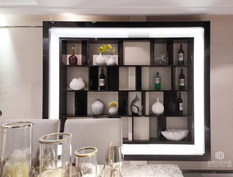 Contemporary Asian Style Wine Shelves On The Wall In Modern Dining Stunning Shelves Dining Room Inspiration Design