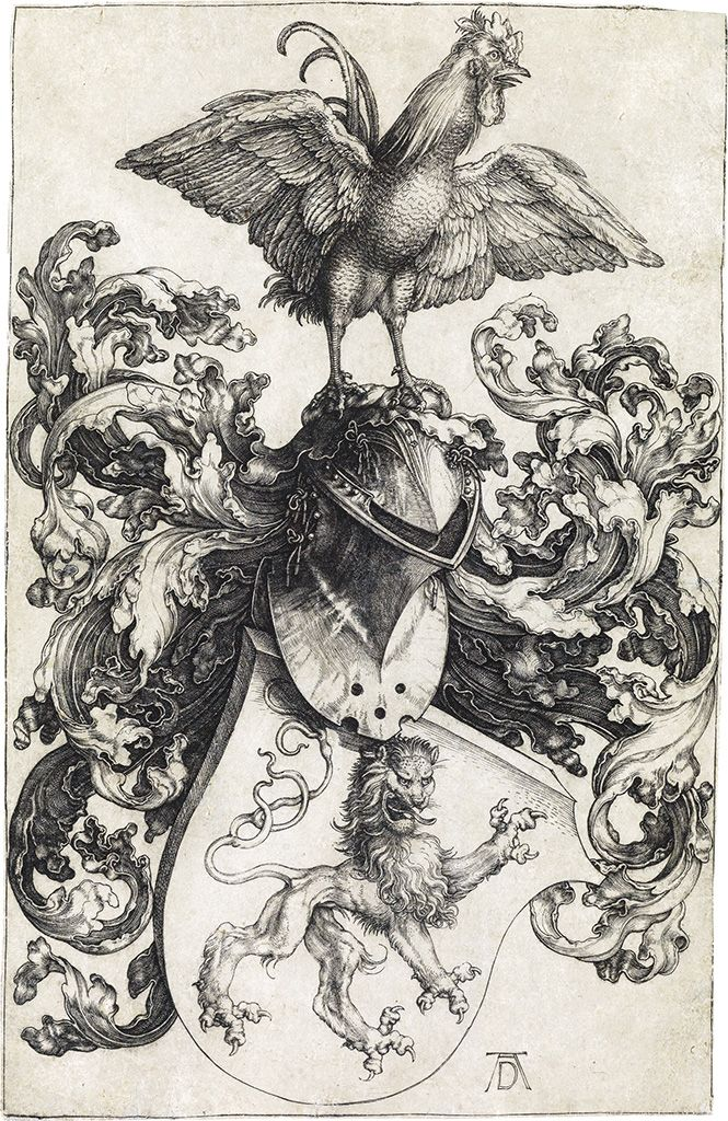 "/""Coat of Arms with a Skull/"" Fine Art Real Canvas Print Albrecht Durer"