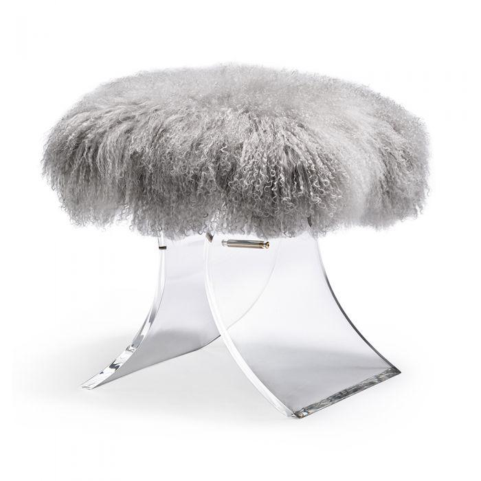 Serena Stool Grey Sheepskin Ottoman stool, Sheepskin