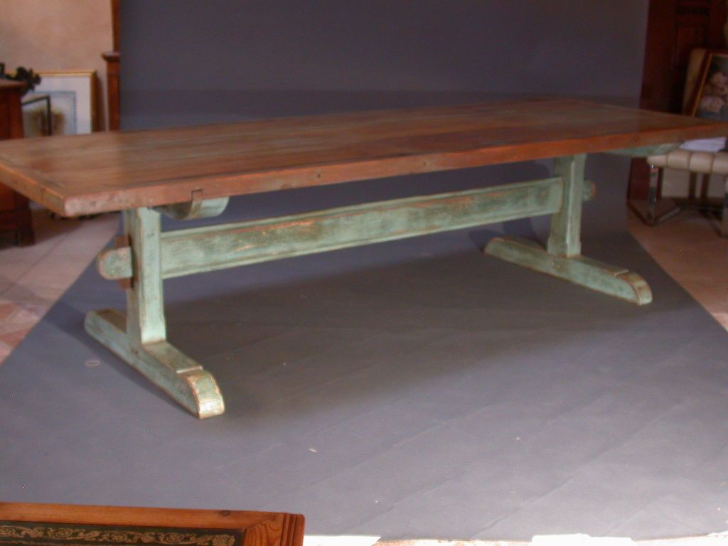 Large 19th Century Scandinavian Trestle Table Antique Dining