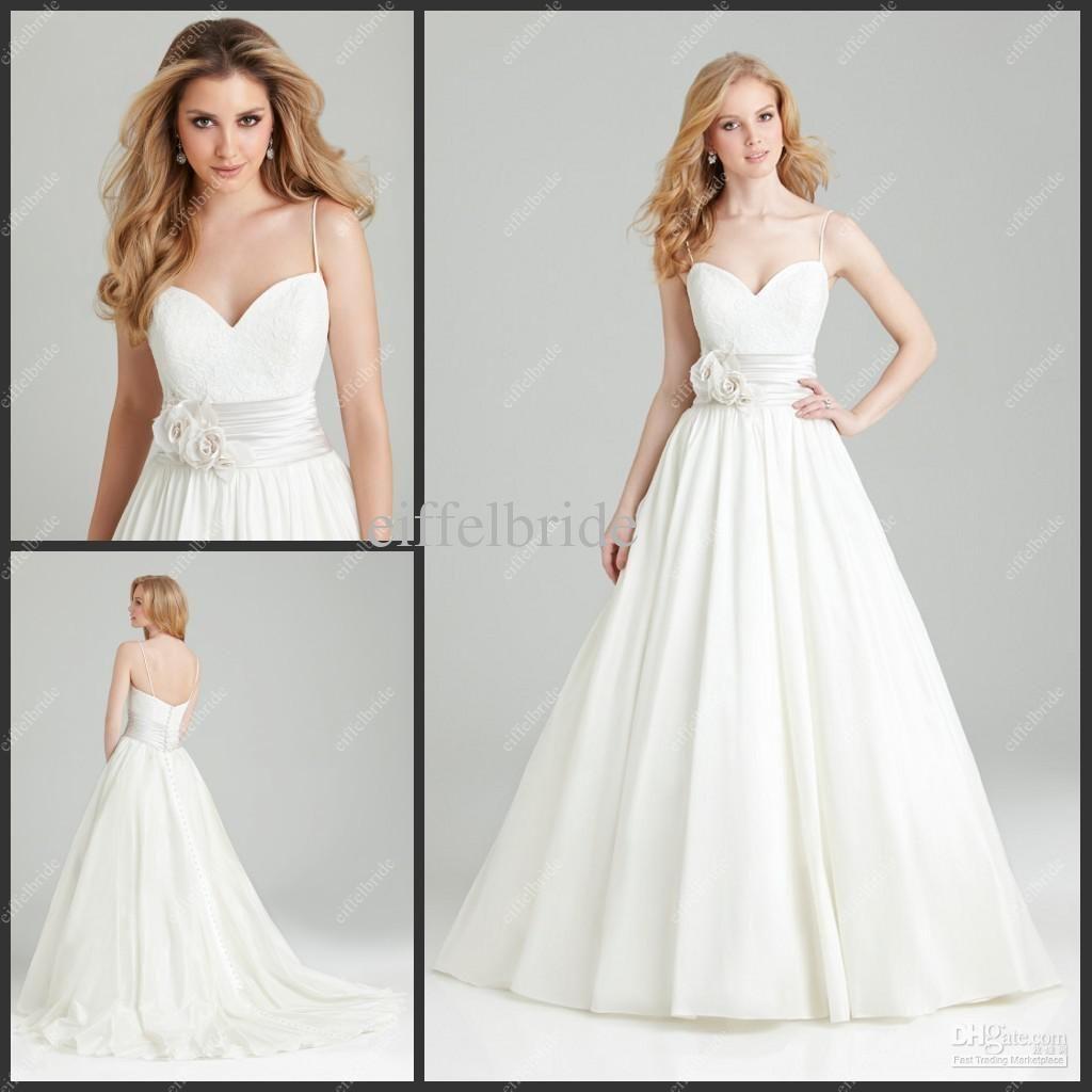 Lace spaghetti strap wedding dress  Wholesale  New Model Wedding Dress Spaghetti Strap Lace Top A