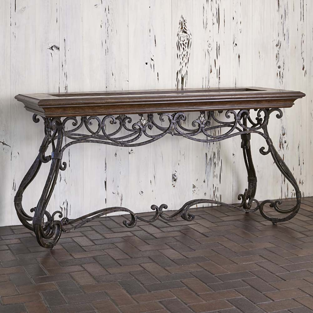 Montego forged iron console table western sofa tables add a montego forged iron console table western sofa tables add a touch of grace to your geotapseo Image collections