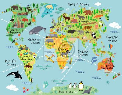 Papiers peints Carte du monde de dessins animés Carte