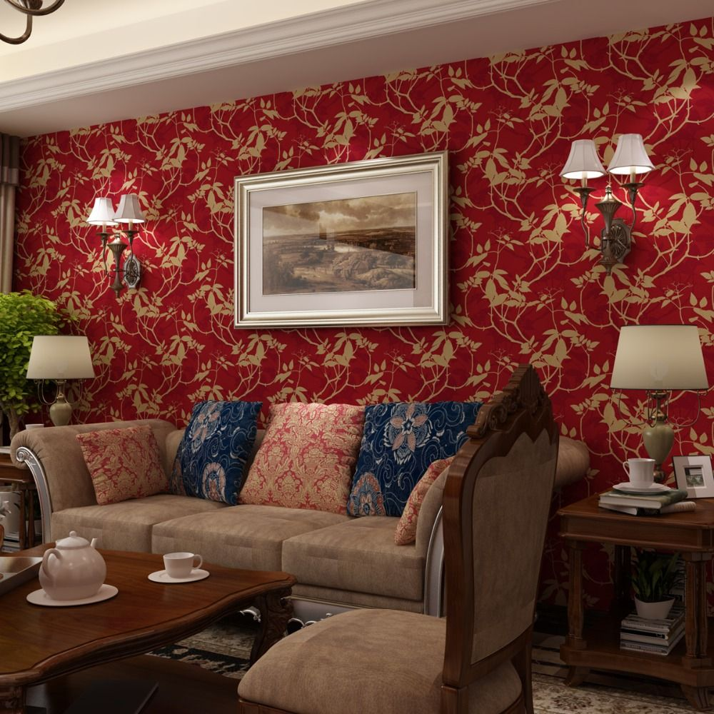 American Countryside Pastoral Wallpapers Nonwoven 3d Wall Murals Silk Leaves Warm Living Room Retro Gr Living Room Warm Red And Black Wallpaper 3d Wall Murals