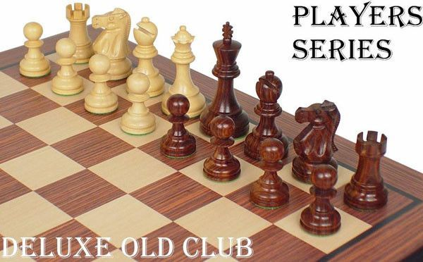 "Deluxe Old Club Staunton Chess Set in Rosewood & Boxwood - 3.25"" King"