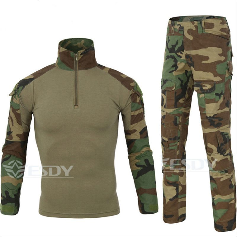 Men Military Tactical T-shirt Army Combat Outdoor Casual Shirt Camouflage Hiking