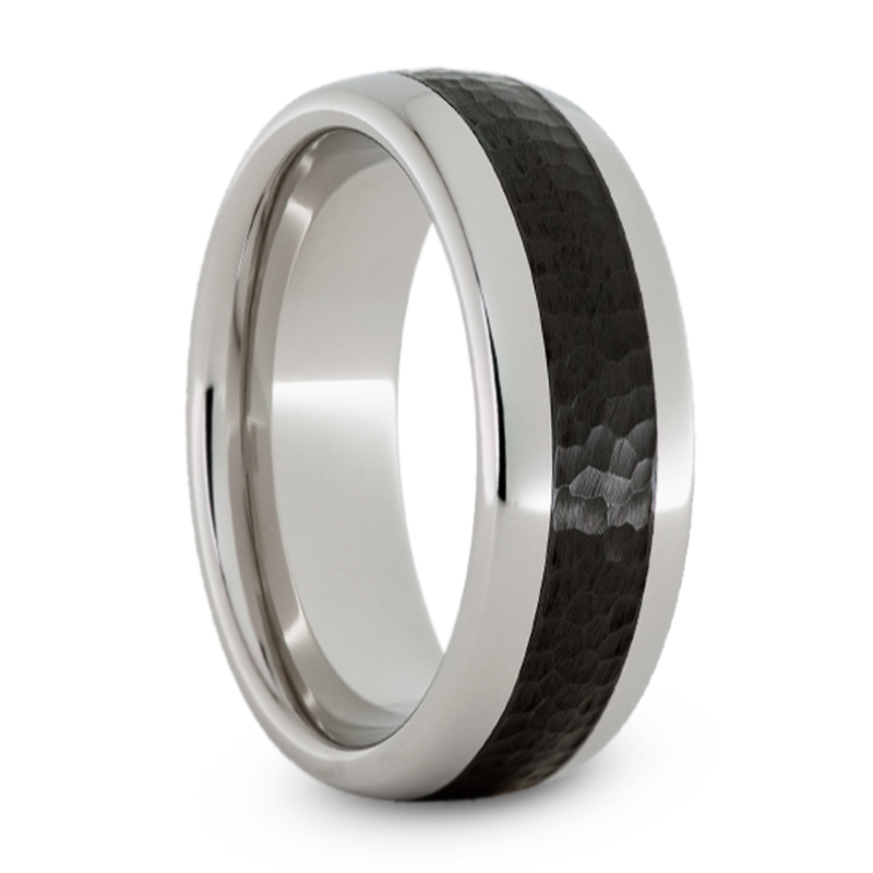 Serinium Wedding Band With Black Ceramic Inlay And Hammered Finish Jirmsa002205 In 2020 Rings For Men Ceramics Wedding Bands
