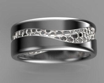 Golf ring, zwart goud ring, voronoi ring, unisex trouwring, organische trouwring, geek trouwring, verlovingsring geek, originele ring