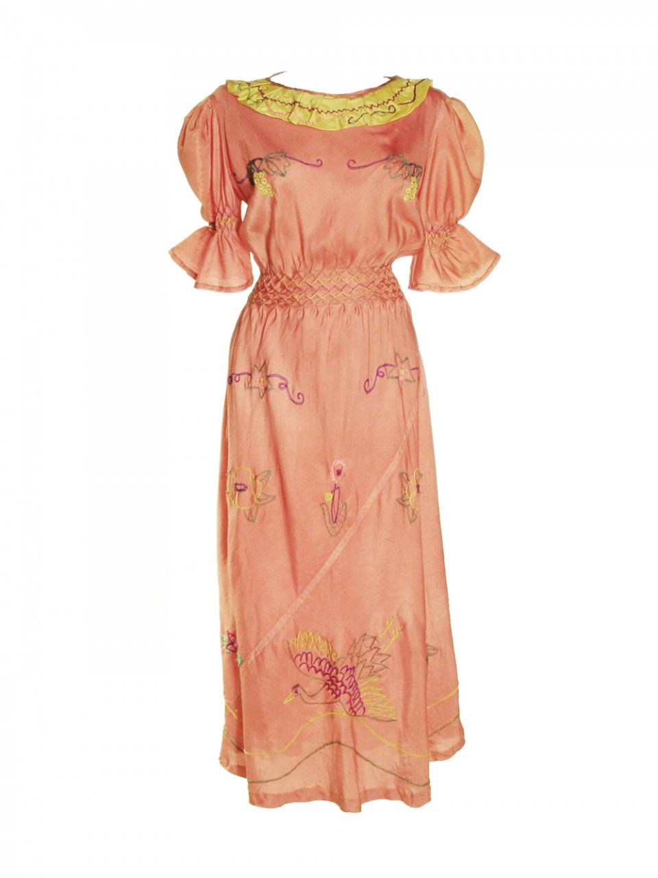 1930's embroidered silk dress