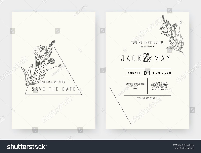 Minimalist Wedding Invitation Card Template Design Floral Black Line Minimalist Wedding Invitations Wedding Invitation Card Template Wedding Invitation Cards