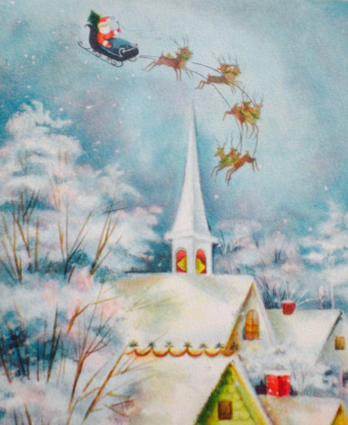 Santa's Special Delivery. Vintage Christmas Card. Retro Christmas Card. Santa & Reindeer.