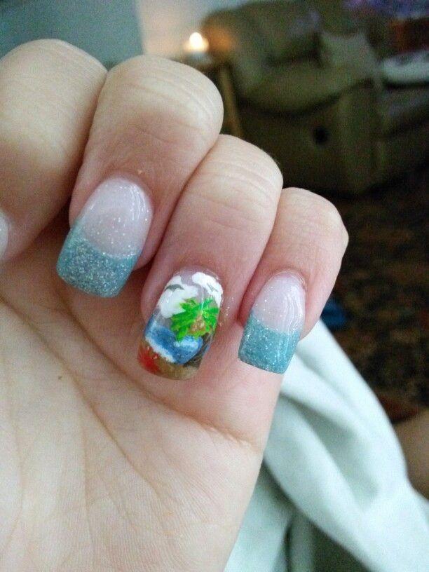 Summer Beach Nail Art Nexgen nails, Acrylic paint & a Tiny brush ...