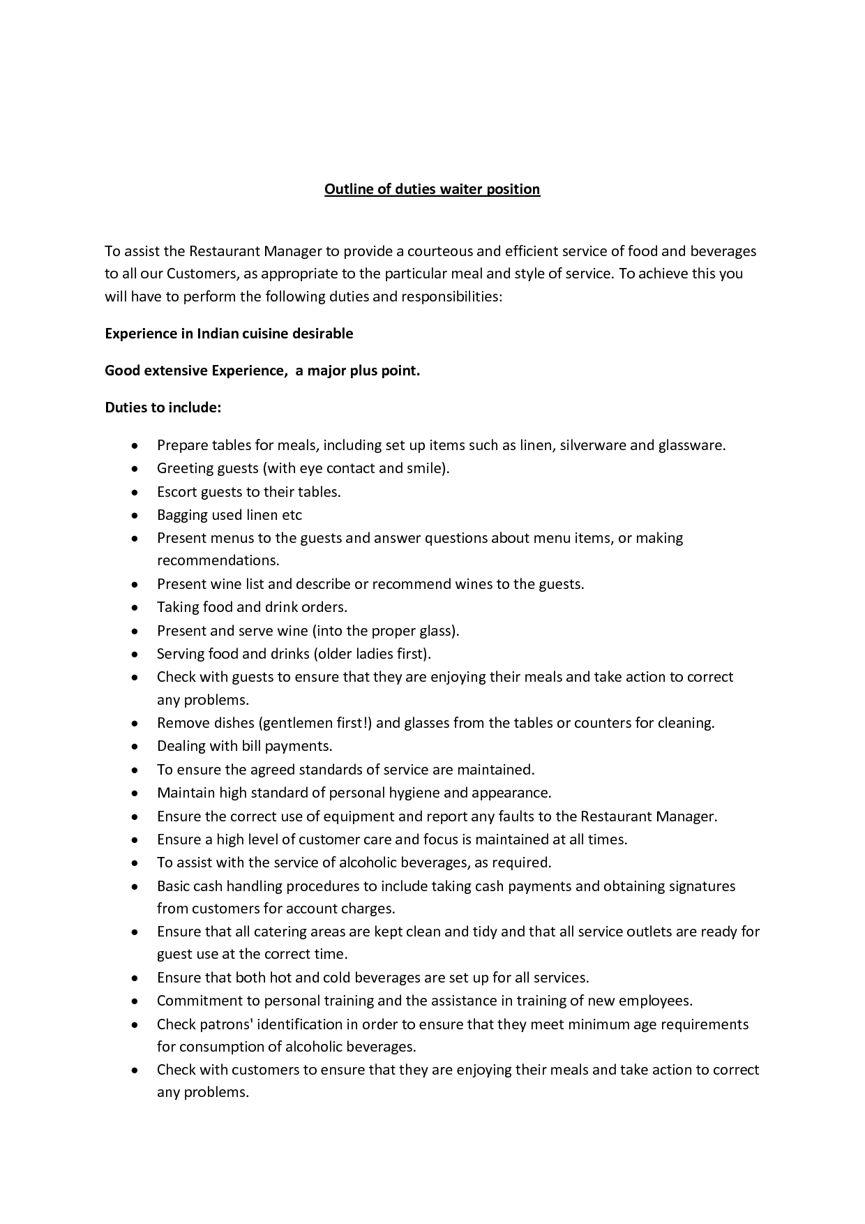Outline To A Restaurant Business  Outline Of Duties Waiter