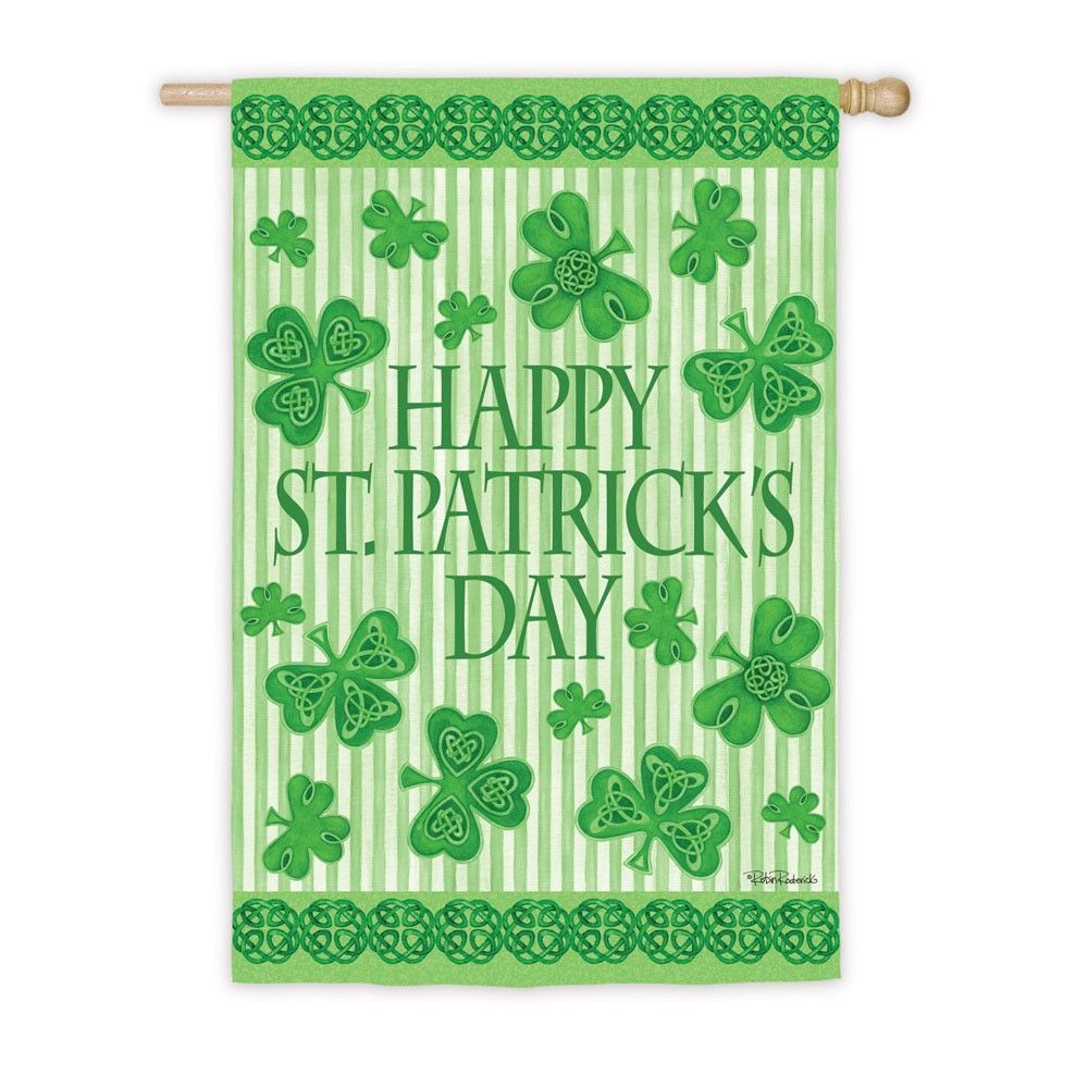 "Check out this great Happy St. Patrick's Day Clovers and Celtic Knots House Flag. It's a large flag at 29"" x 43"". St Patrick's day is less than a month away!"