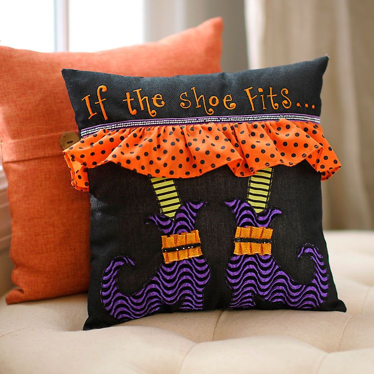 If the Shoe Fits Witch Pillow Halloween pillows