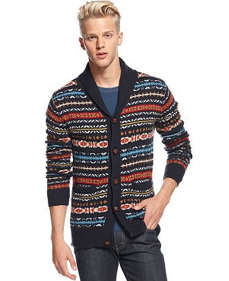 J.A.C.H.S Sweater, Fair Isle Shawl-Collar Cardigan - Sweaters ...