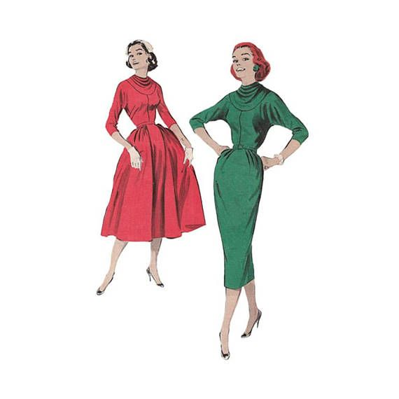 1950s Bouffant Dress Pattern or Sexy Wiggle Dress Butterick 8311 ...
