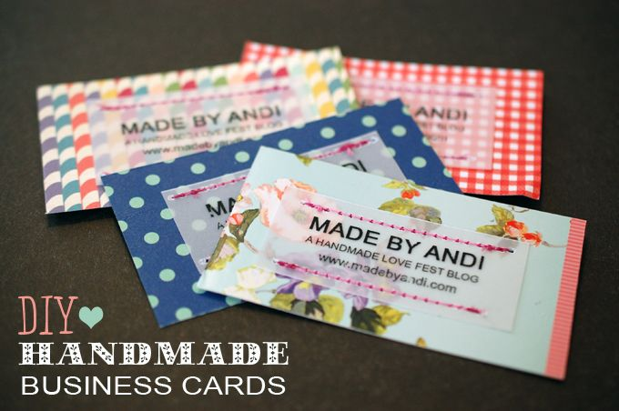 Diy Handmade Stitched Business Cards Made By Andi Handmade Business Cards Diy Business Cards Diy Business