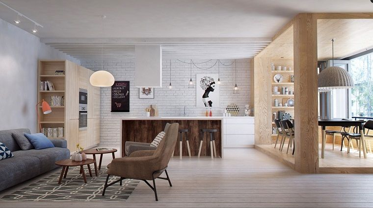Arredare cucina soggiorno ambiente unico, mobili in legno ...