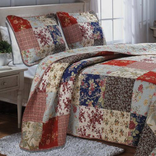 French Country Cottage Floral Red Blue Patchwork Bedspread