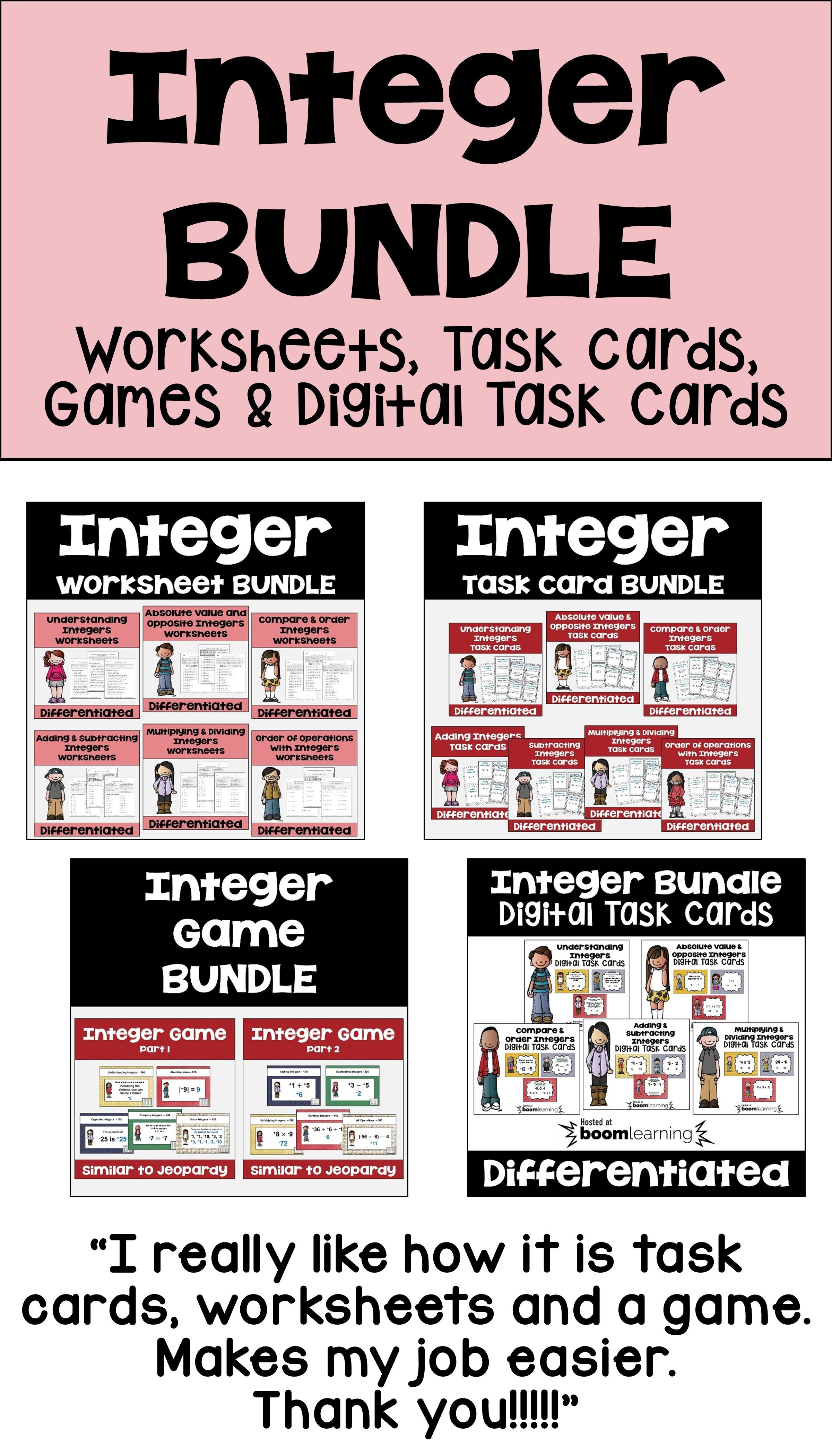 Integer Bundle With Worksheets Task Cards Games And