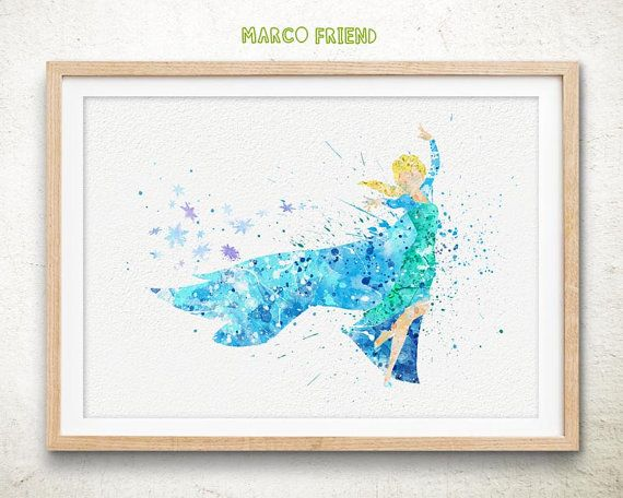 Disney Elsa Frozen Watercolor Poster Print Wall Decor Watercolor