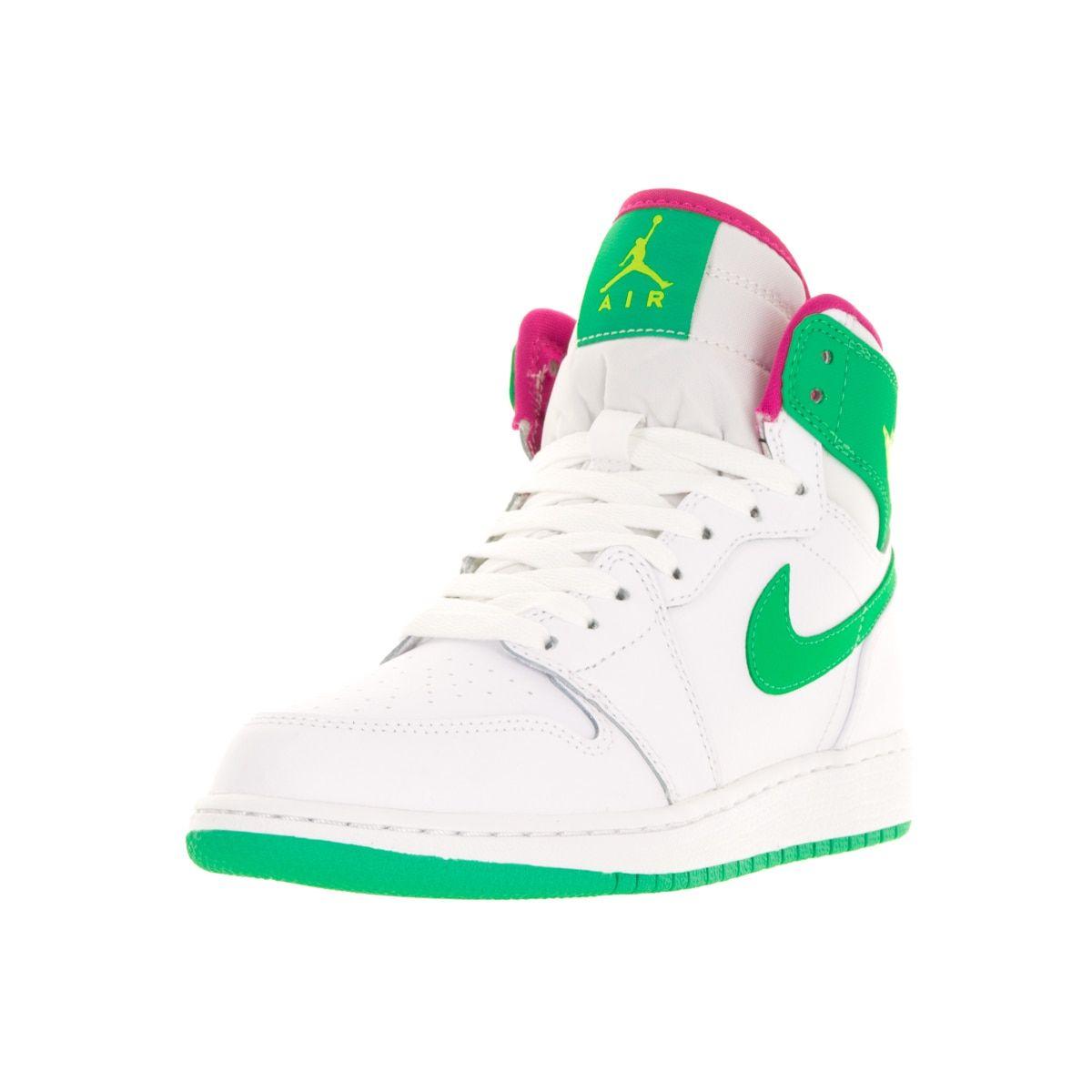 best service ef152 c2143 Nike Jordan Kids Air Jordan 1 Retro High GG  Gamma Green Vivid Pink Cyber  Basketball Shoes