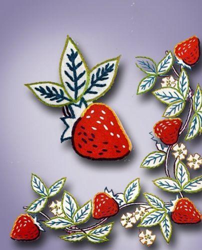 1940s Darlin Strawberry Napkins Placemat Motifs Uncut 1945 Simplicity Transfer   eBay