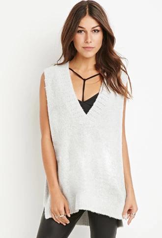 Fuzzy V-Neck Sweater | Forever 21 | #triedandtrue