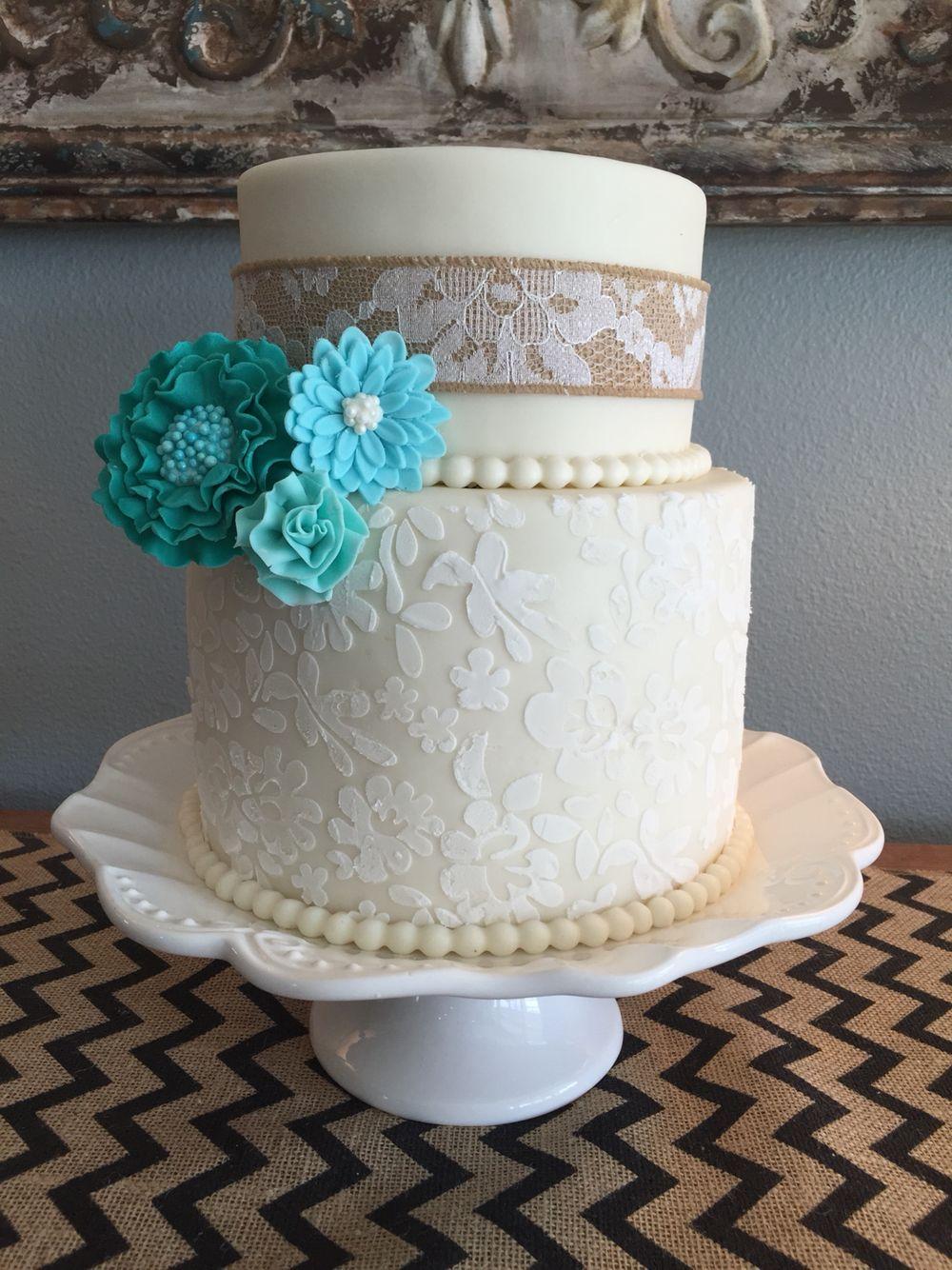 Wedding cake. Burlap and teal/Aqua. Purple wedding cake