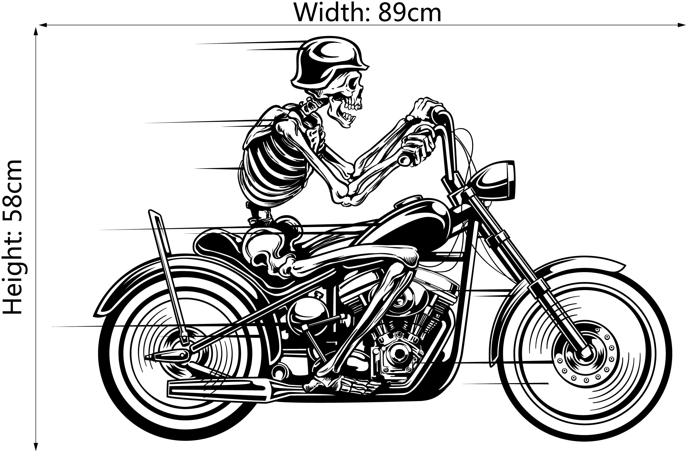 DSU Skeleton Ride A Motorcycle Simple Speeding Art Wall Stickers ... 82c4f4d9d349