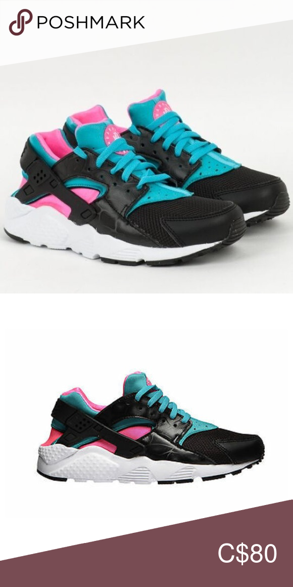 Nike Huarache Run GS Black/White/Pink 5.5Y | Nike huarache ...