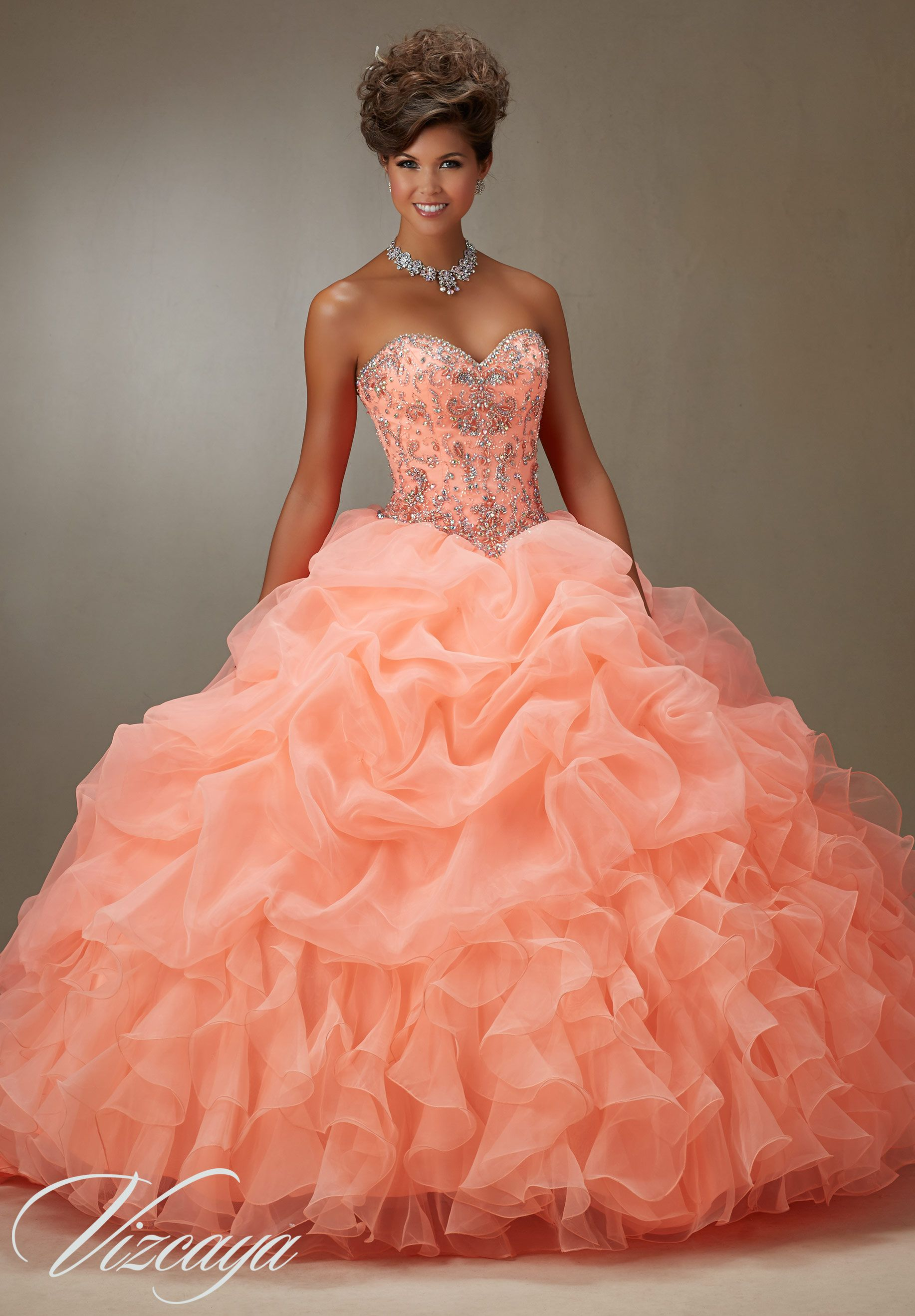 6663cb6e925 Ruched Organza Skirt with Beaded Bodice Quinceañera Dress