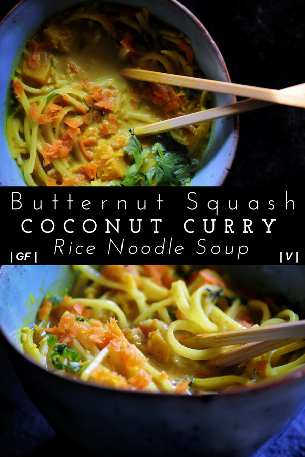Butternut Squash Coconut Curry Rice Noodle Soup Gluten Free Vegan