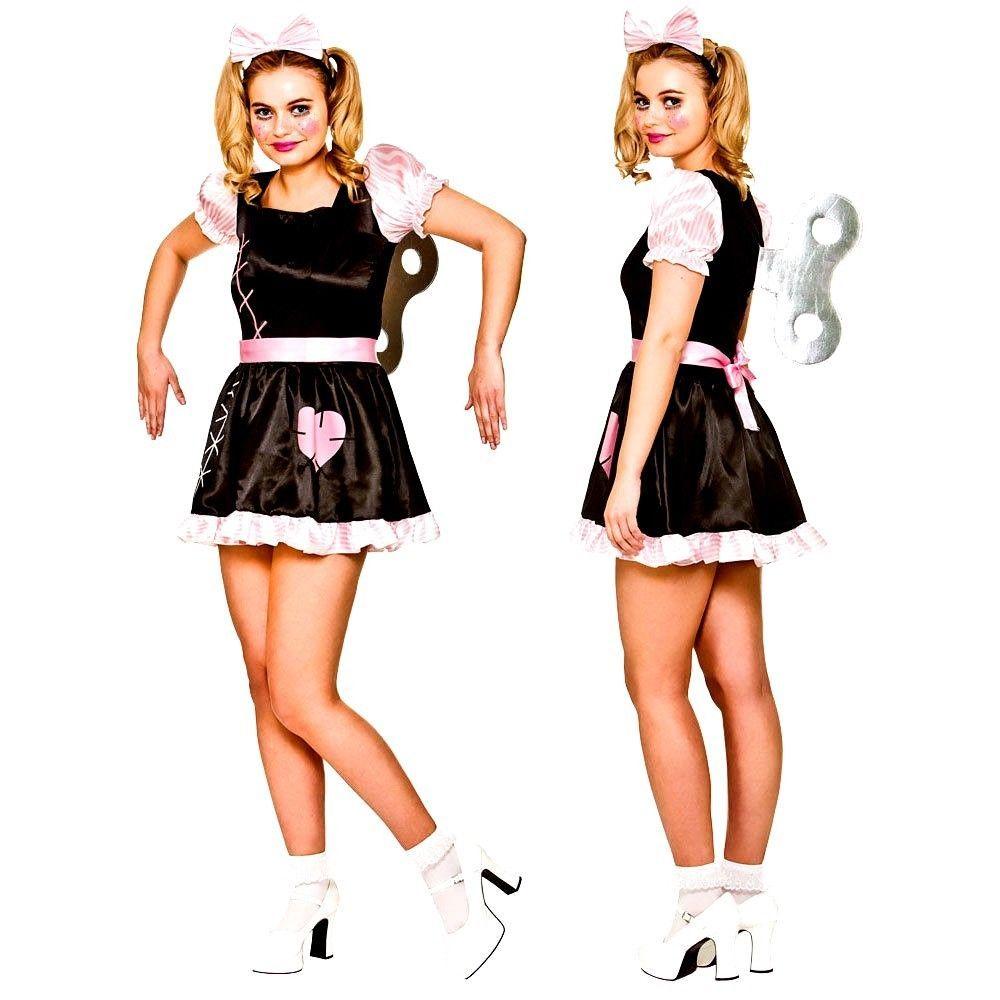 Ladies DELUXE WIND UP DOLL Halloween Scary Horror Fancy Dress Costume UK 6-24